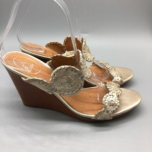 Jack Rogers Luccia metallic gold leather wedges